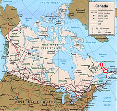 Canada's Map - Click to see more on where we are located.
